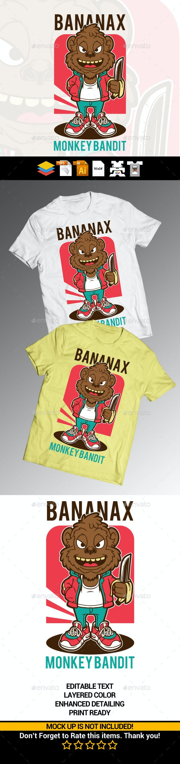 Monkey Banana Bandit - Funny Designs