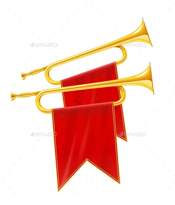 Golden Royal Horn Trumpet with Red Banner - Man-made Objects Objects