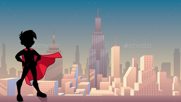 Super Boy City Silhouette - People Characters