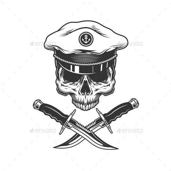 Vintage Sea Captain Skull - Miscellaneous Vectors