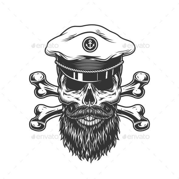Vintage Bearded and Mustached Skull