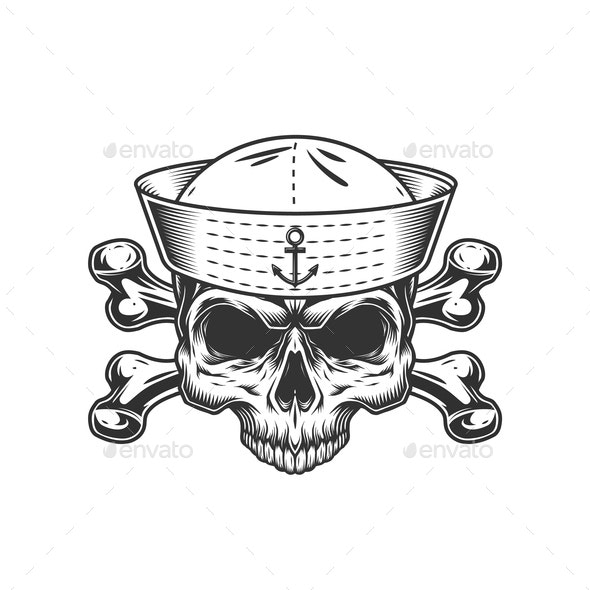 Vintage Mariner Skull Without Jaw - Miscellaneous Vectors