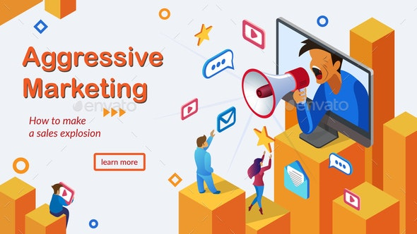 Aggressive Marketing Services Vector Webpage - Media Technology