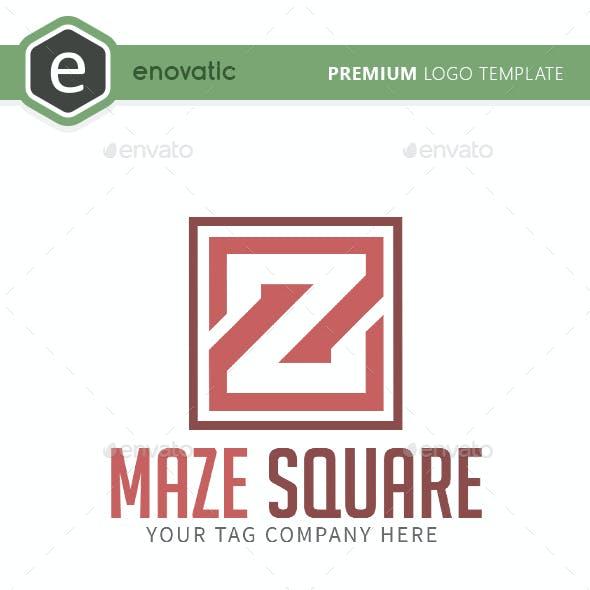 Maze Square Z Letter Logo Template