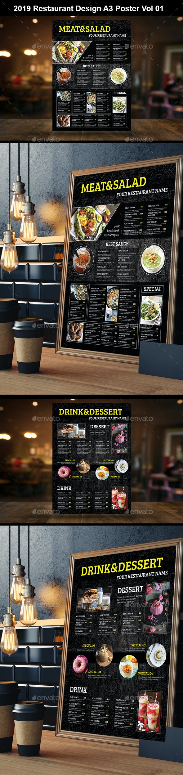 A3 Wall Menu Vol 01 - Food Menus Print Templates