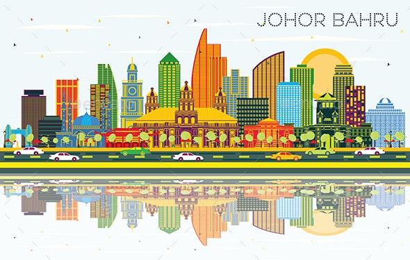 Johor Bahru Malaysia City Skyline with Color Buildings - Buildings Objects