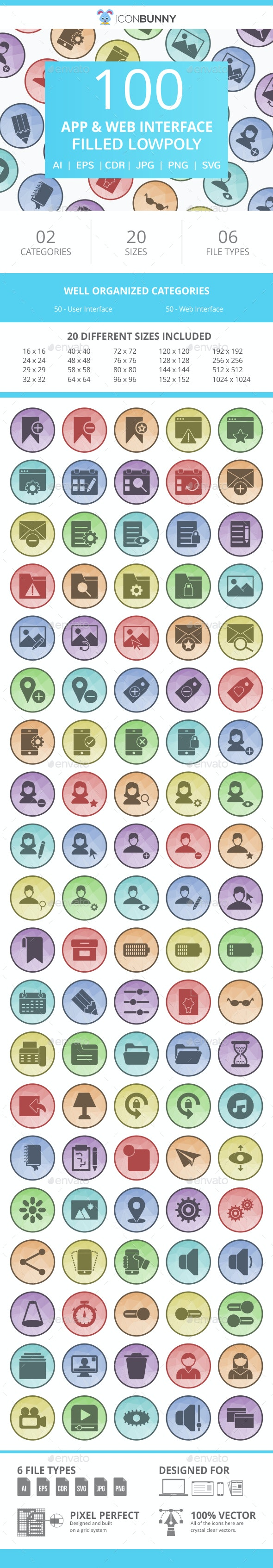 100 App & Web Interface Filled Low Poly Icons - Icons