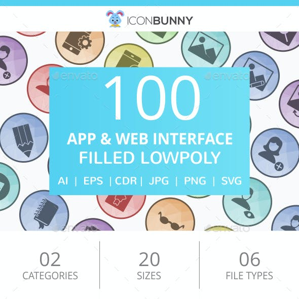 100 App & Web Interface Filled Low Poly Icons