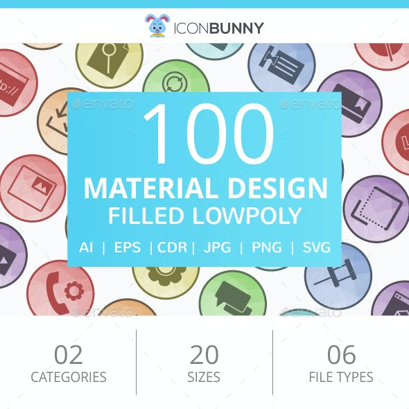 100 Material Design Filled Low Poly Icons