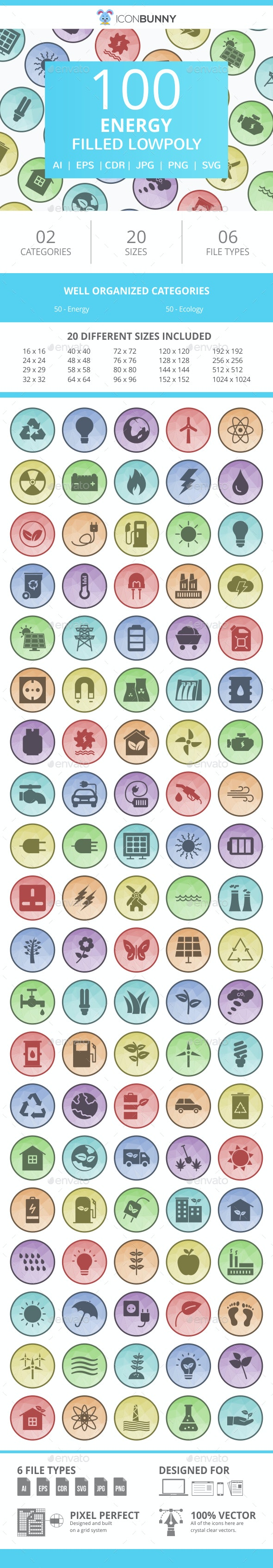100 Energy Filled Low Poly Icons - Icons