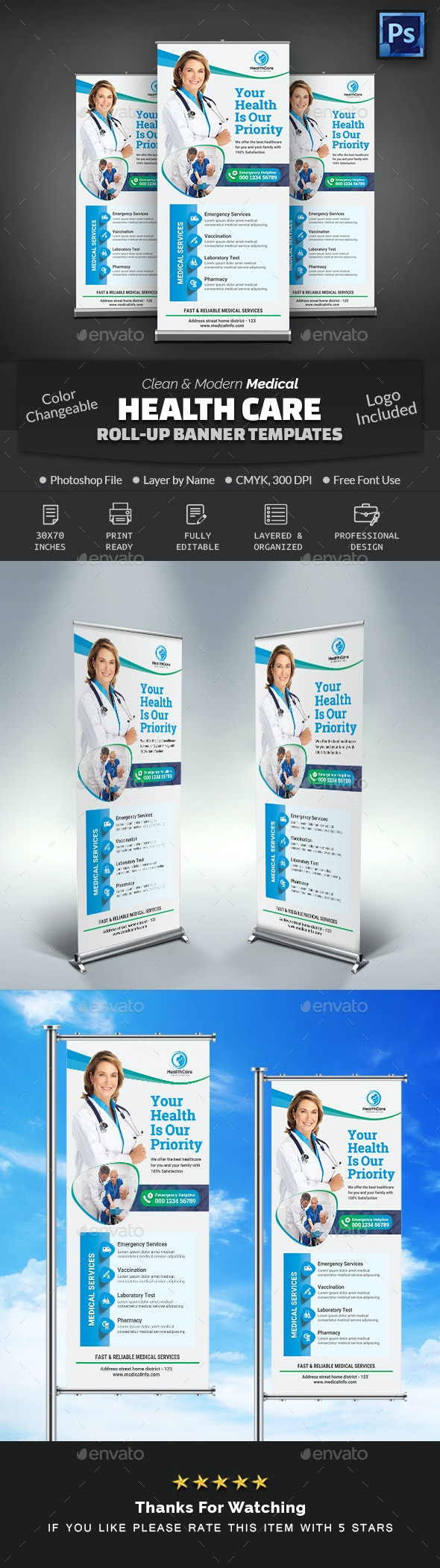Medical Health Care Roll-Up Banner - Signage Print Templates