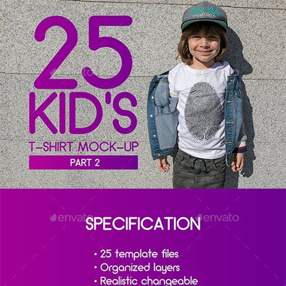 25 Kid's T-Shirt Mock-Up 2018 Part 2