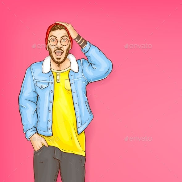 Vector Shocked Man Hipster with Open Mouth