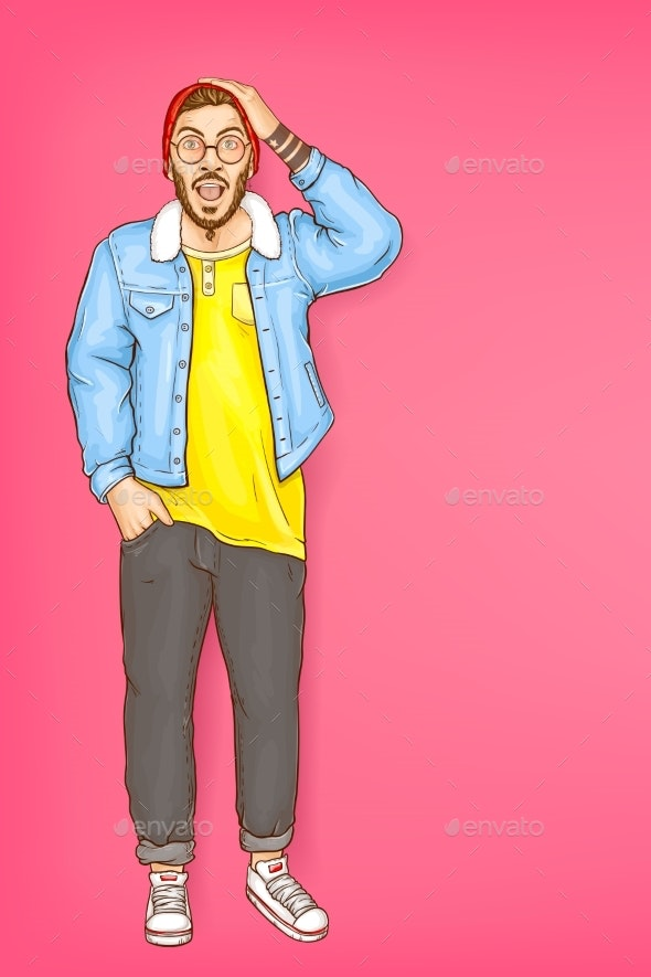 Vector Shocked Man Hipster with Open Mouth - People Characters