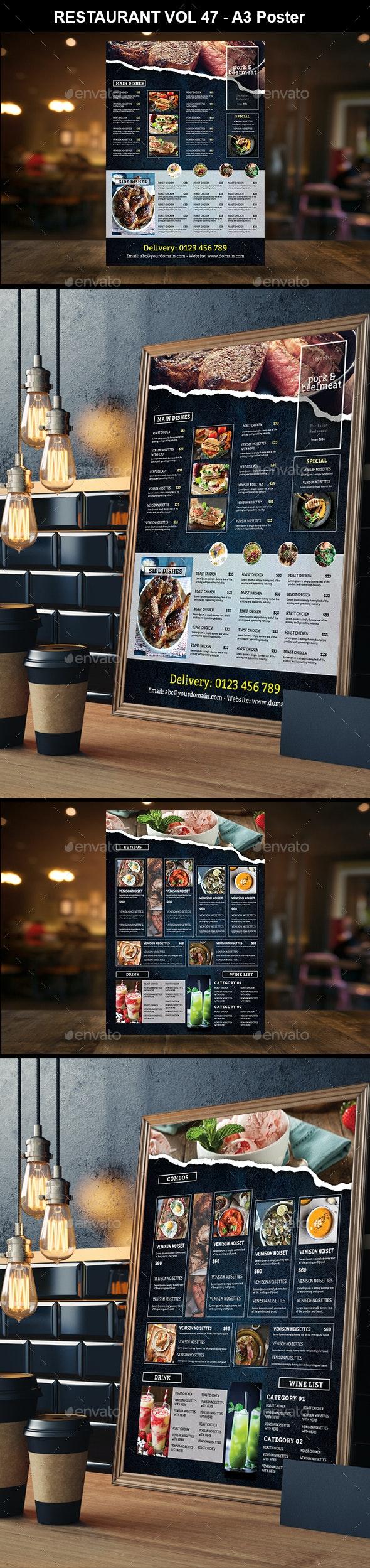 A3 Restaurant Menu Vol 51 - Food Menus Print Templates