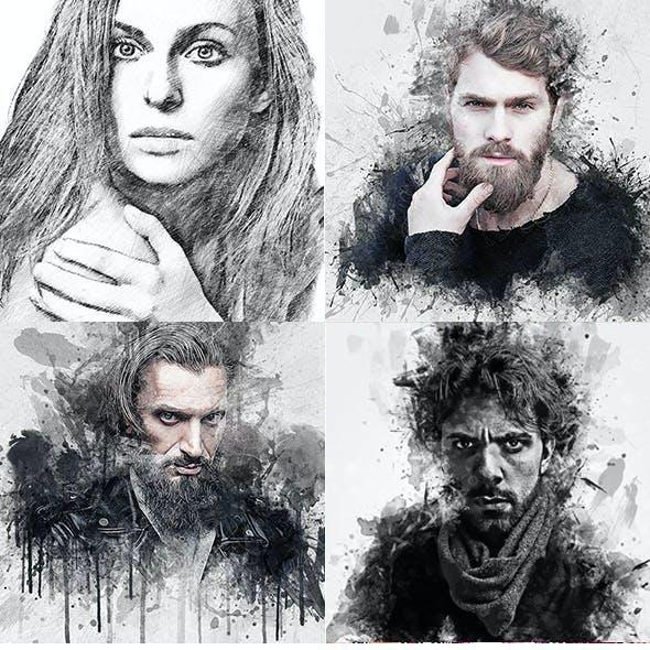 Ink Art 4 in 1 Photoshop Action Bundle