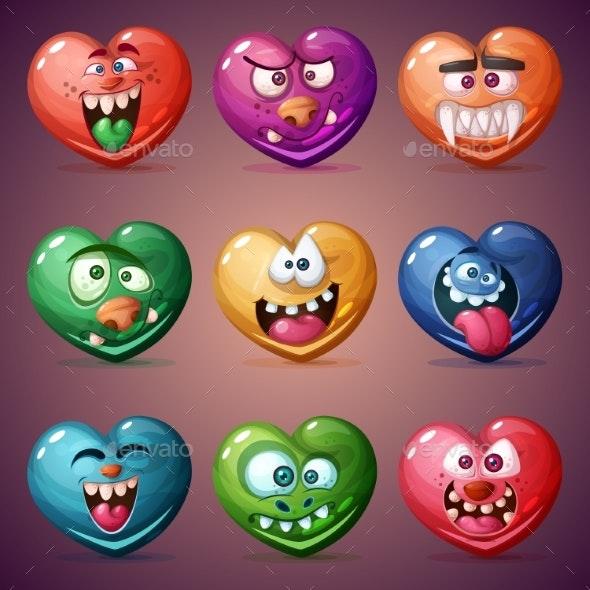 Set Valentine Hearts - Miscellaneous Vectors