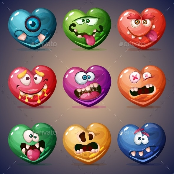 Set Valentine Hearts - Miscellaneous Vectors