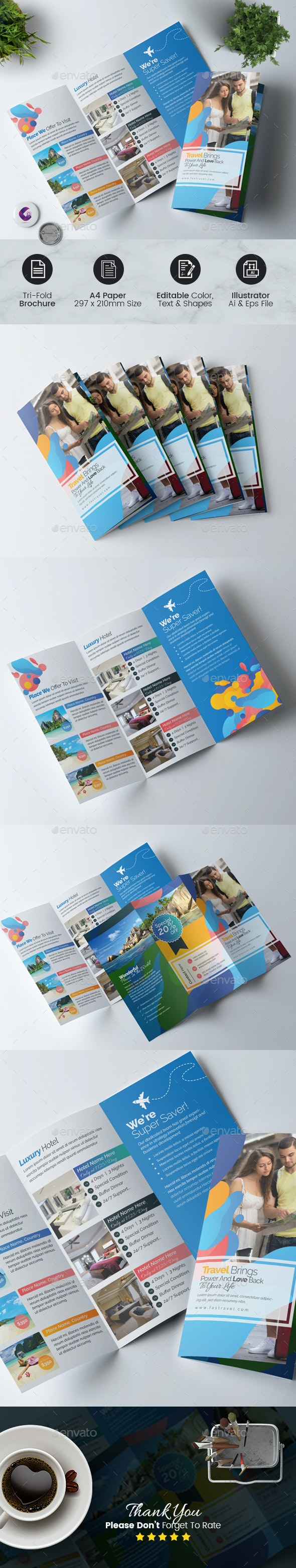 Travel & Hotel booking Trifold Brochure - Corporate Brochures