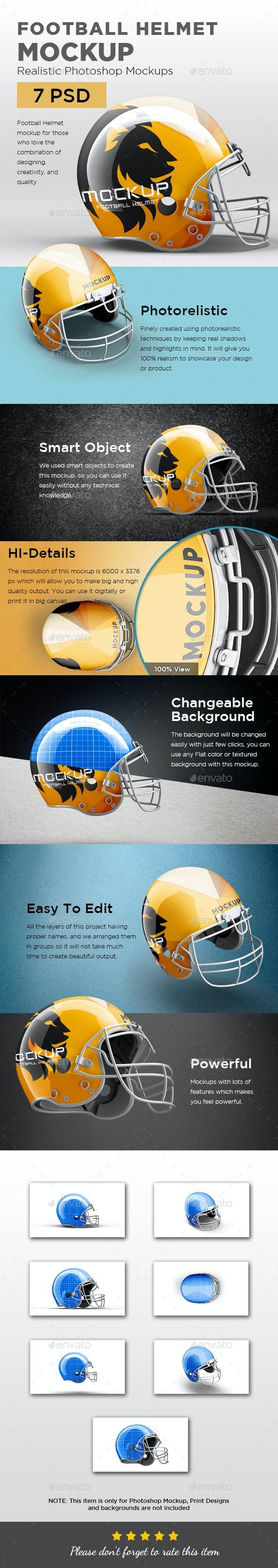 Football Halmet Mockup - Product Mock-Ups Graphics