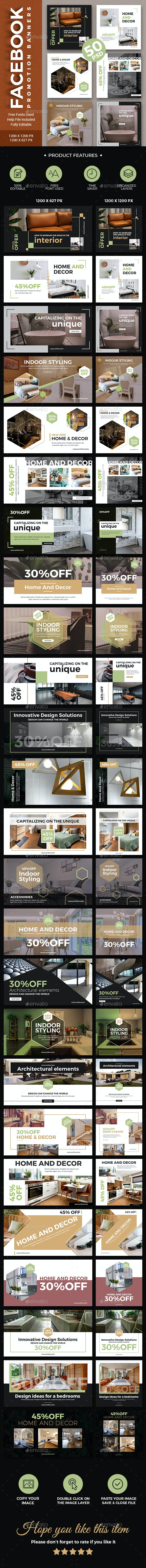 Facebook - Home And Decor Banners - Social Media Web Elements