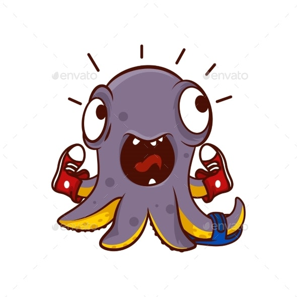 Vector Icon of Screaming Octopus with Shoes - Animals Characters