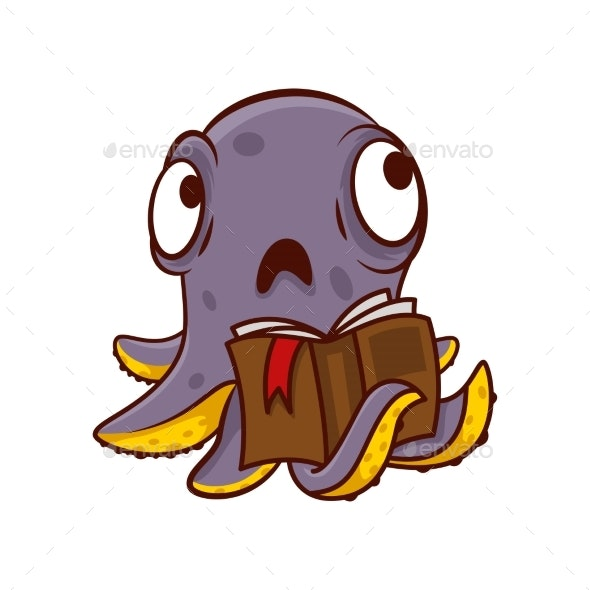 Purple Octopus with Sad Face Holding Book - Animals Characters