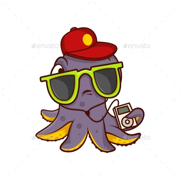 Octopus in Sunglasses and Red Cap Holding Player - Animals Characters