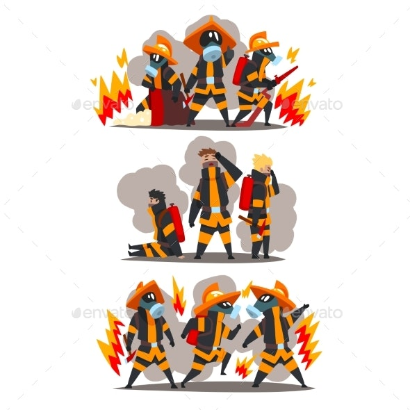 Firefighters with Firefighting Equipment - People Characters