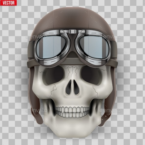 Human Skull with Retro Aviator or Biker Helmet - People Characters