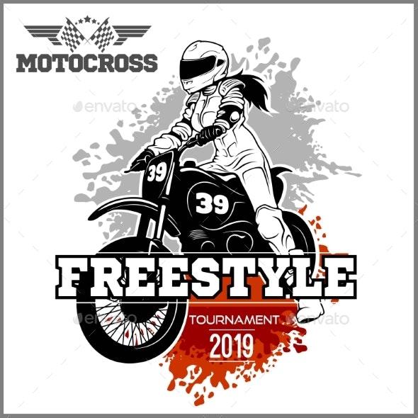 Female Motocross Vector Design Illustration - Miscellaneous Vectors