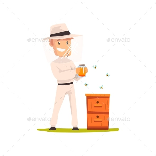 Beekeeper Man with a Jar of Honey - Animals Characters