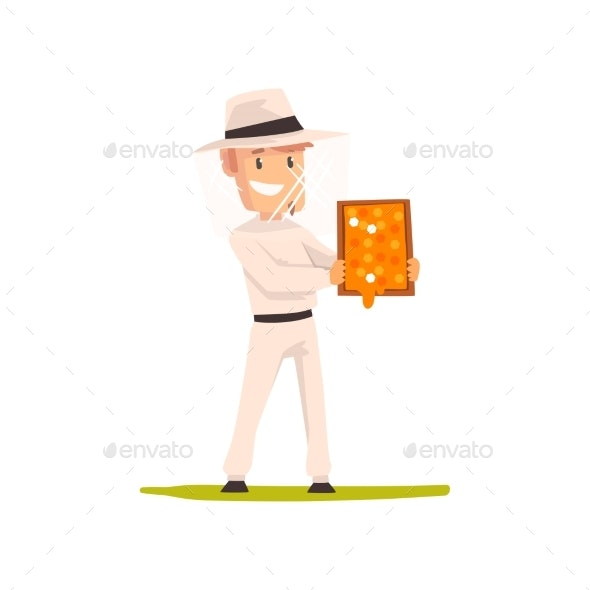 Smiling Beekeeper Man with a Honeycomb Frame - Animals Characters