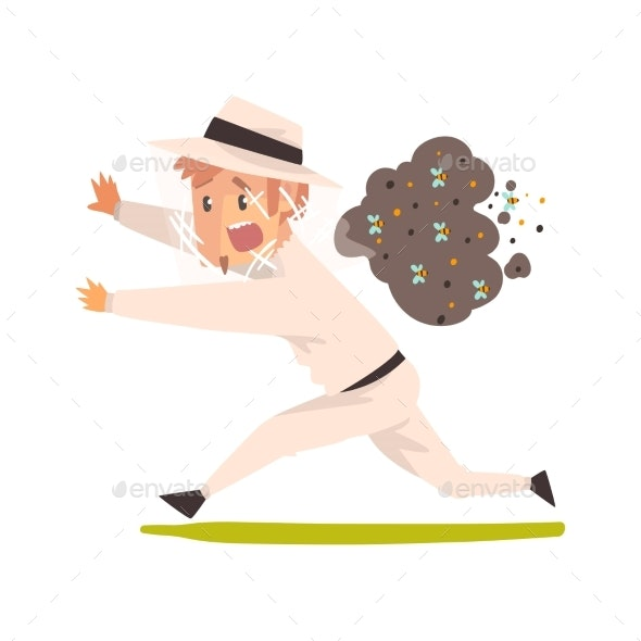 Scared Beekeeper Running Away From Swarm of Bees - Animals Characters