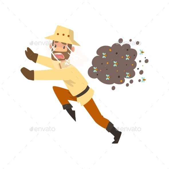 Beekeeper Man Running Away From a Swarm of Bees - Animals Characters
