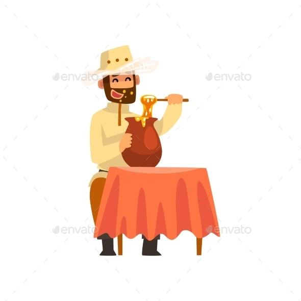 Beekeeper Man Eating Honey - Animals Characters