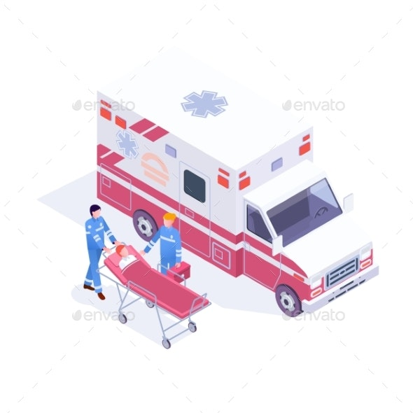Isometric Ambulance Service with Emergency Car - Health/Medicine Conceptual