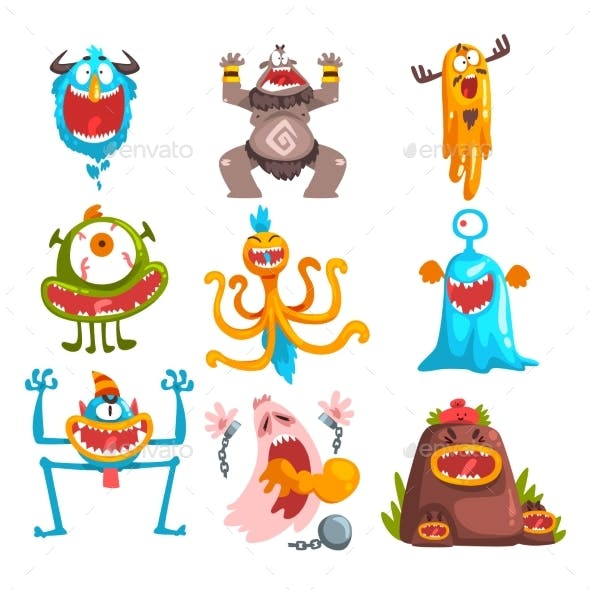 Funny Cartoon Monster with Different Emotions