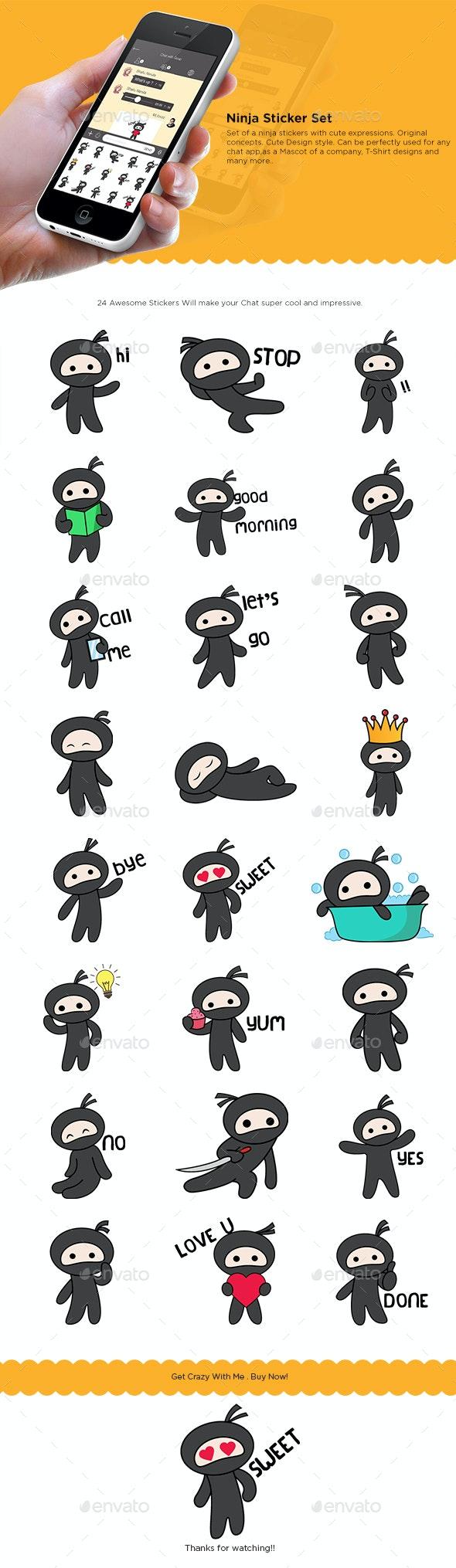 Ninja Cartoon Sticker Set - Miscellaneous Characters