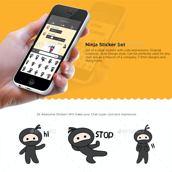 Ninja Cartoon Sticker Set