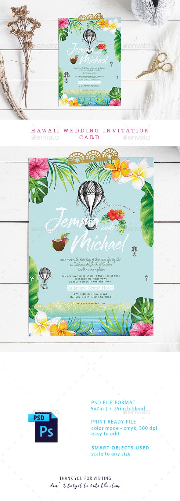 Hawaii Wedding Invitation Card - Weddings Cards & Invites