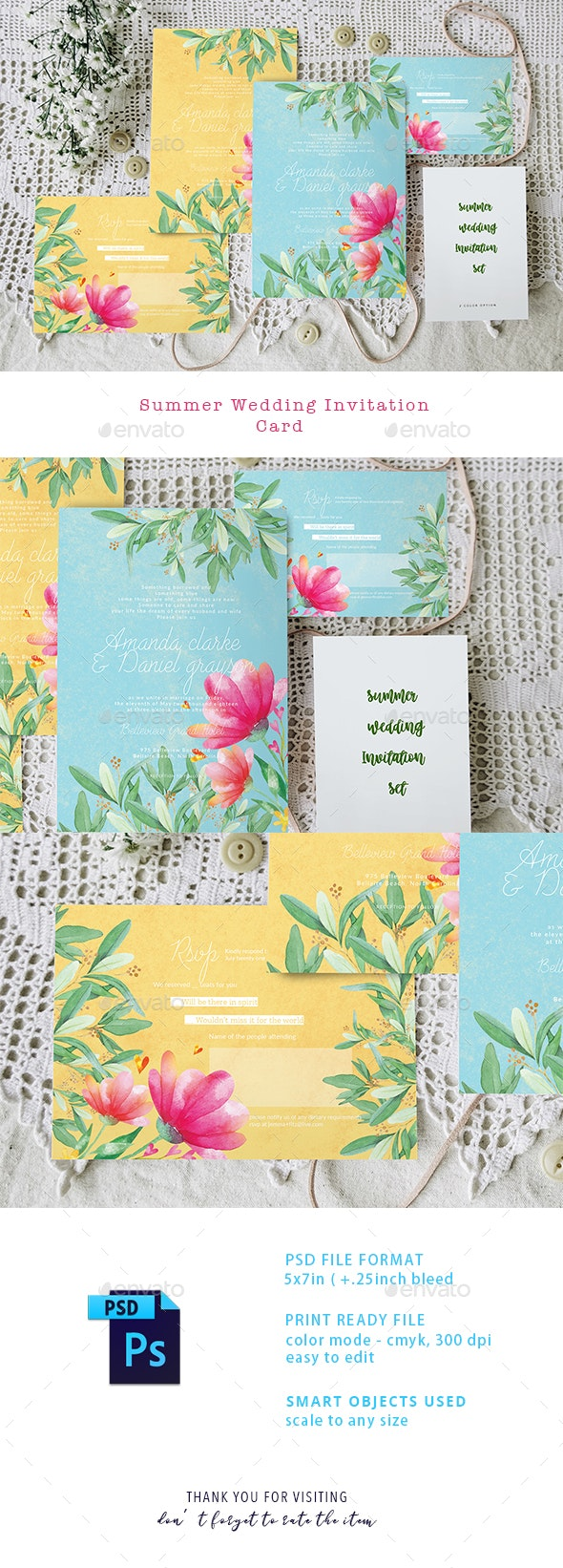 Summer Wedding Invitation Set - Weddings Cards & Invites