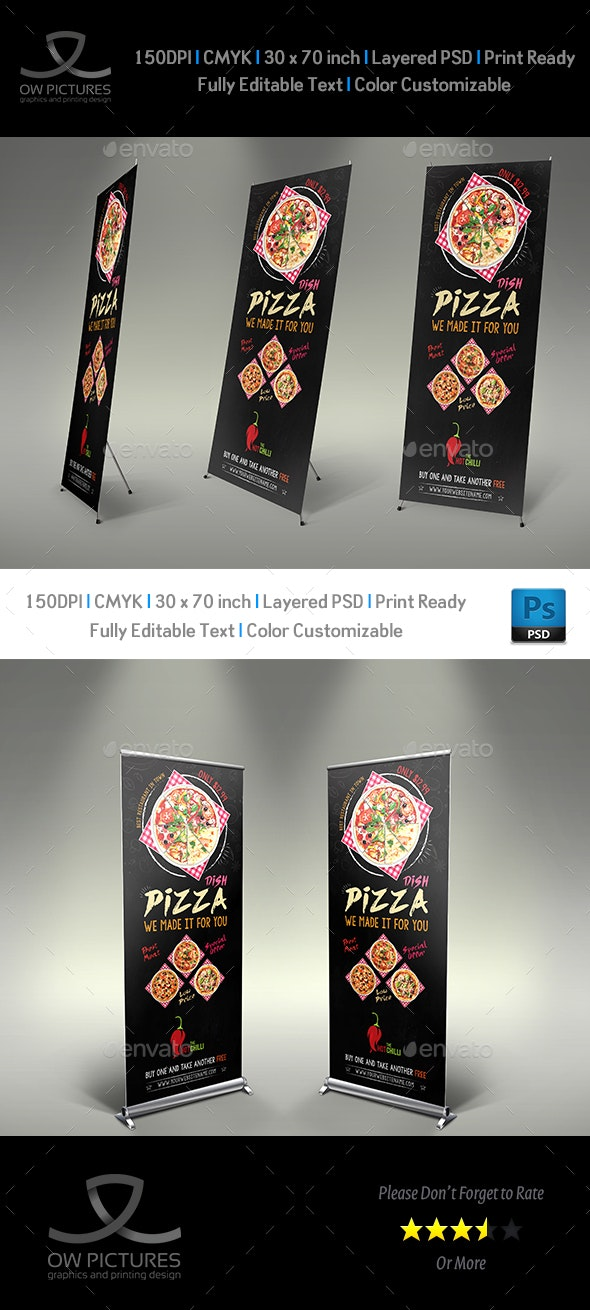 Pizza Signage Banner Roll Up Template Vol.3 - Signage Print Templates