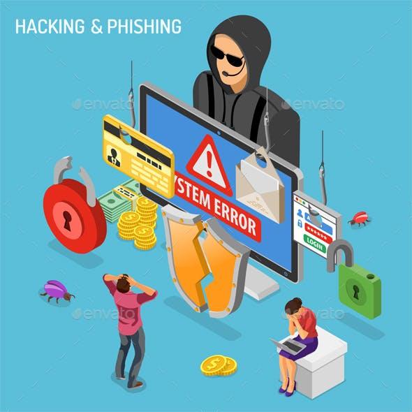 Hacker Phishing Activity Isometric Concept