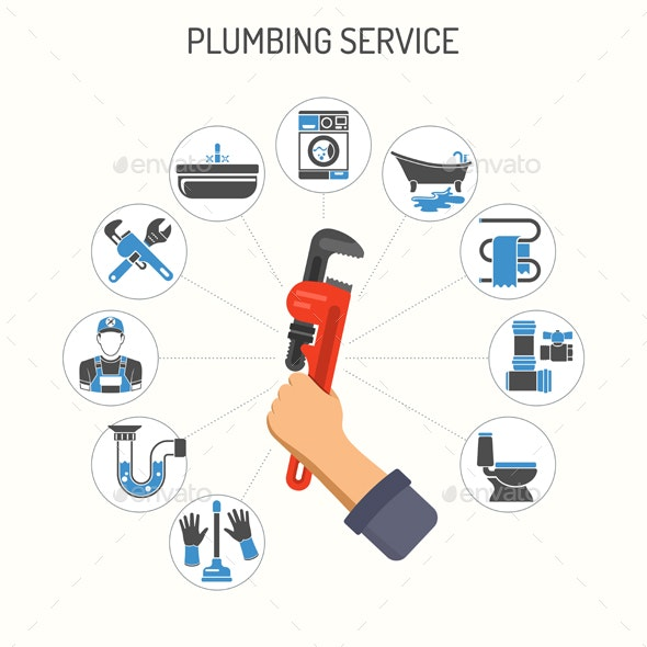 Plumbing Service Infographics - Services Commercial / Shopping