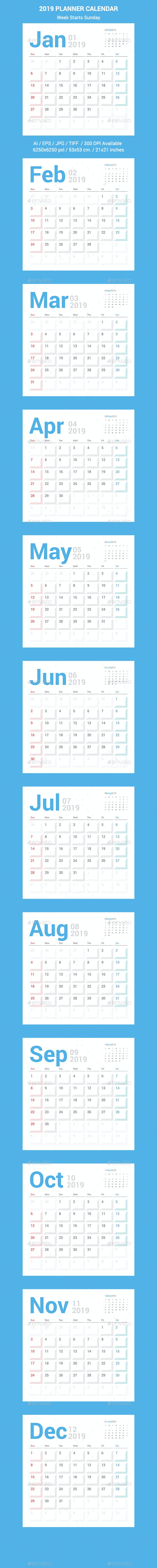 Calendar Planner Design. Week Starts Sunday. - Calendars Stationery