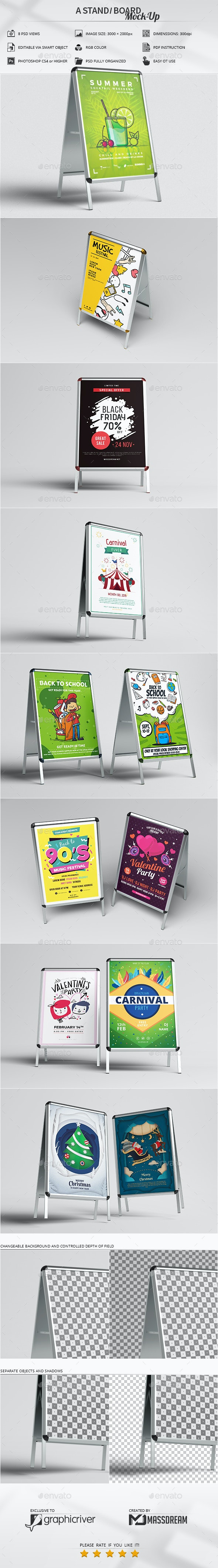 A Stand / Board Mock-Up - Product Mock-Ups Graphics