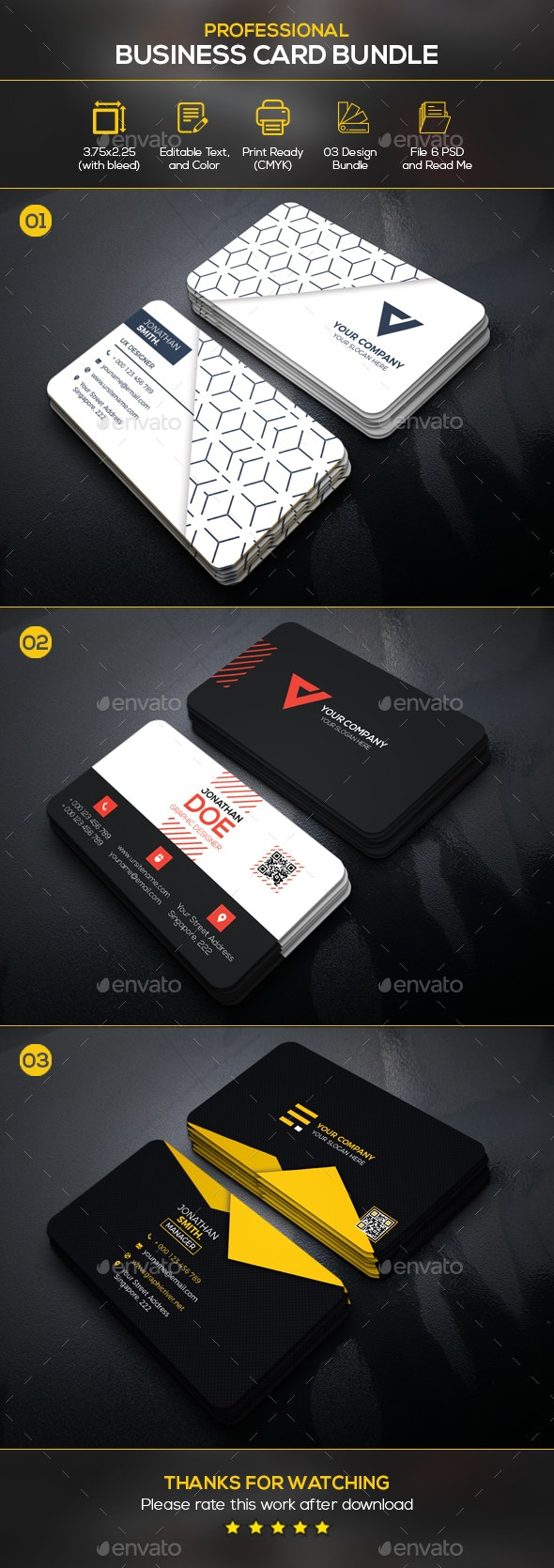 Business Card Bundle - Business Cards Print Templates