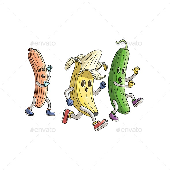 Banana and Cucumber Run From Zombie Sausage - Miscellaneous Characters