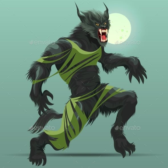 Angry Werewolf Monster Turning Under Full Moon